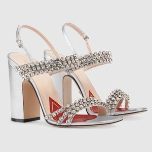 🔥 Gucci Metallic Leather Heels with Crystals 🔥